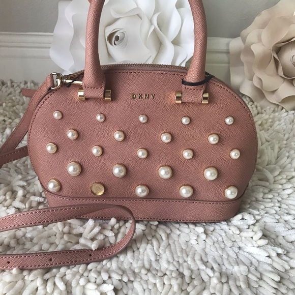 DKNY Round Pearl Small Satchel Rosewhite